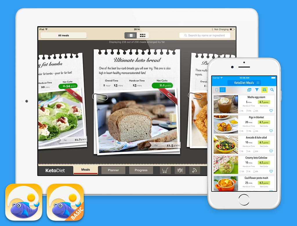 KetoDiet running on iPad and KetoDiet Basic on the iPhone 6